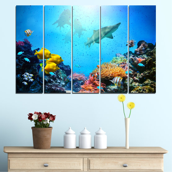 Canvas prints & wall decorative panels - 5 pieces №0218 » Blue, Turquoise, Black, Dark grey » Sea, Water, Fish Form #2