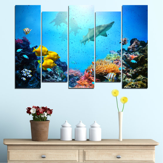 Canvas prints & wall decorative panels - 5 pieces №0218 » Blue, Turquoise, Black, Dark grey » Sea, Water, Fish Form #3
