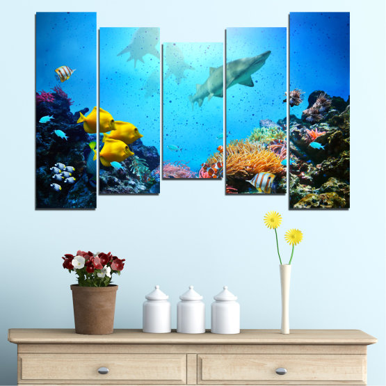Canvas prints & wall decorative panels - 5 pieces №0218 » Blue, Turquoise, Black, Dark grey » Sea, Water, Fish Form #4