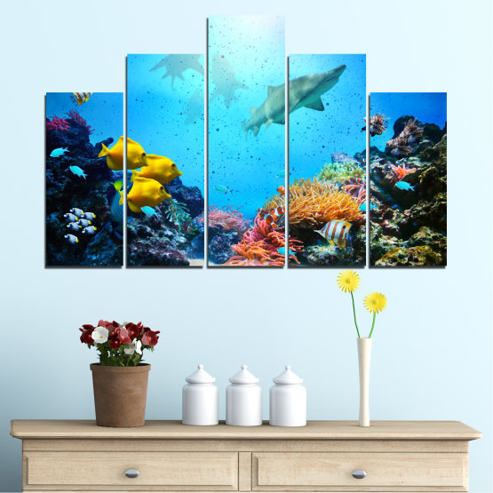Canvas prints & wall decorative panels - 5 pieces №0218 » Blue, Turquoise, Black, Dark grey » Sea, Water, Fish Form #5