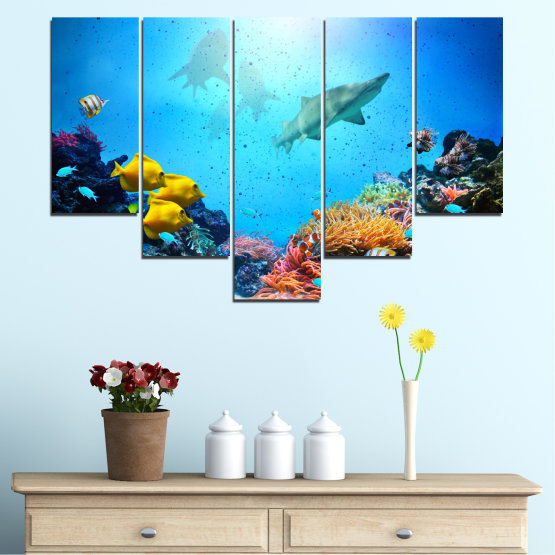 Canvas prints & wall decorative panels - 5 pieces №0218 » Blue, Turquoise, Black, Dark grey » Sea, Water, Fish Form #6