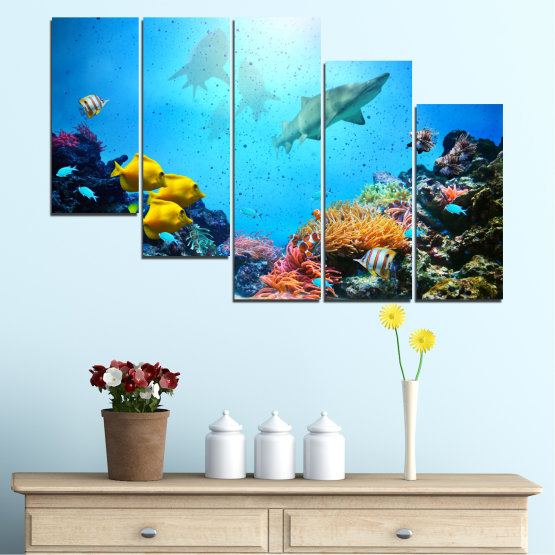 Canvas prints & wall decorative panels - 5 pieces №0218 » Blue, Turquoise, Black, Dark grey » Sea, Water, Fish Form #7