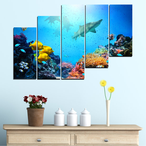 Canvas prints & wall decorative panels - 5 pieces №0218 » Blue, Turquoise, Black, Dark grey » Sea, Water, Fish Form #8