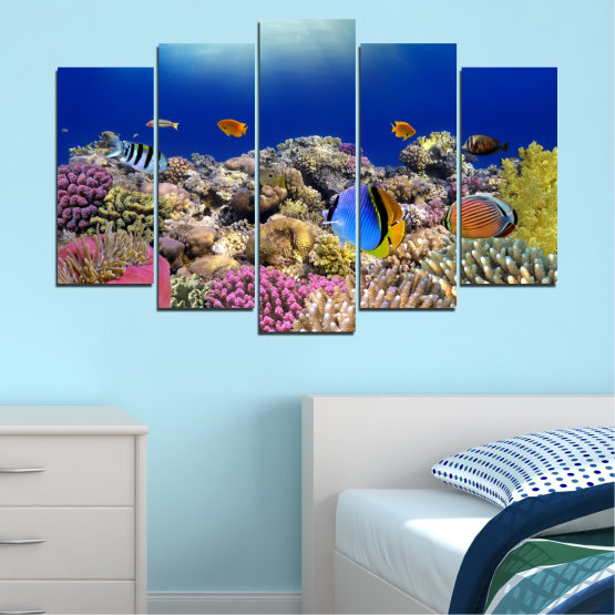 Canvas prints & wall decorative panels - 5 pieces №0219 » Blue, Brown, Gray, Dark grey » Sea, Water, Fish Form #1
