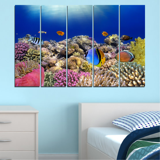 Canvas prints & wall decorative panels - 5 pieces №0219 » Blue, Brown, Gray, Dark grey » Sea, Water, Fish Form #2
