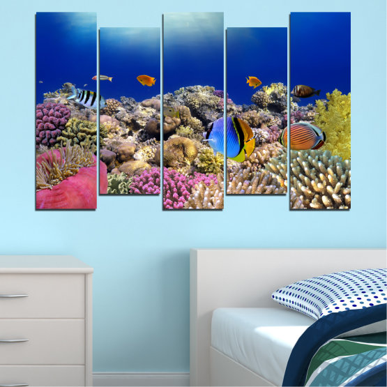 Canvas prints & wall decorative panels - 5 pieces №0219 » Blue, Brown, Gray, Dark grey » Sea, Water, Fish Form #3