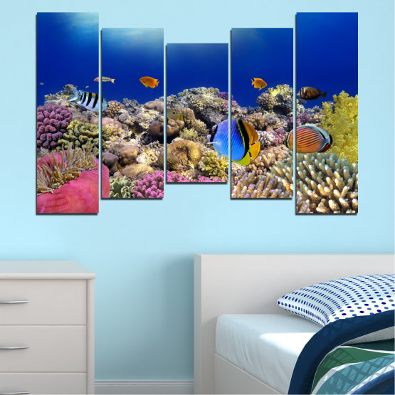 Canvas prints & wall decorative panels - 5 pieces №0219 » Blue, Brown, Gray, Dark grey » Sea, Water, Fish Form #4