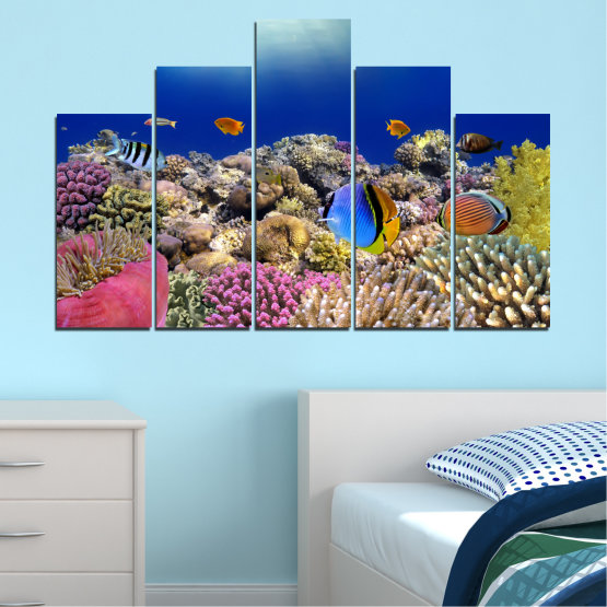 Canvas prints & wall decorative panels - 5 pieces №0219 » Blue, Brown, Gray, Dark grey » Sea, Water, Fish Form #5