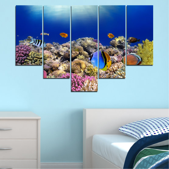Canvas prints & wall decorative panels - 5 pieces №0219 » Blue, Brown, Gray, Dark grey » Sea, Water, Fish Form #6