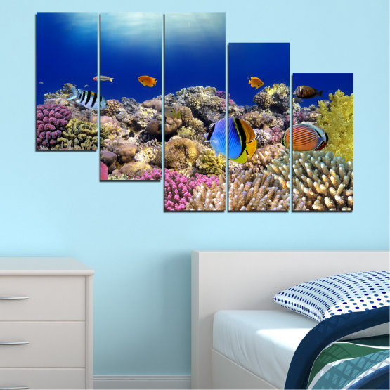 Canvas prints & wall decorative panels - 5 pieces №0219 » Blue, Brown, Gray, Dark grey » Sea, Water, Fish Form #7