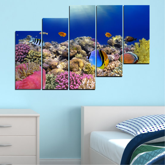 Canvas prints & wall decorative panels - 5 pieces №0219 » Blue, Brown, Gray, Dark grey » Sea, Water, Fish Form #8