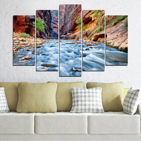 Canvas prints & wall decorative panels - 5 pieces №0220 » Brown, Black, Gray, Dark grey » Nature, Water, River, Rocks Form #1