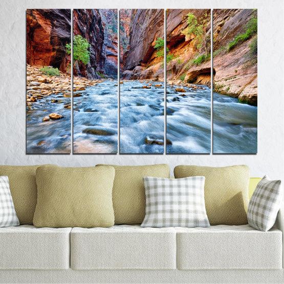 Canvas prints & wall decorative panels - 5 pieces №0220 » Brown, Black, Gray, Dark grey » Nature, Water, River, Rocks Form #2
