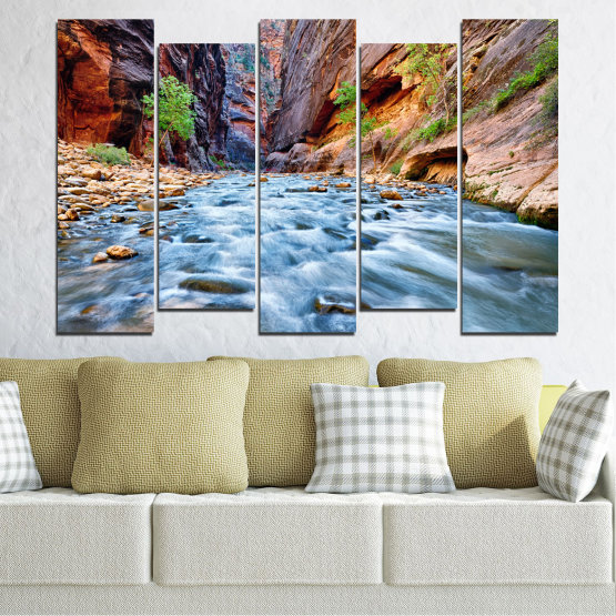 Canvas prints & wall decorative panels - 5 pieces №0220 » Brown, Black, Gray, Dark grey » Nature, Water, River, Rocks Form #3