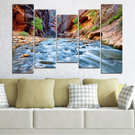 Canvas prints & wall decorative panels - 5 pieces №0220 » Brown, Black, Gray, Dark grey » Nature, Water, River, Rocks Form #4