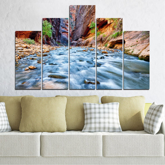 Canvas prints & wall decorative panels - 5 pieces №0220 » Brown, Black, Gray, Dark grey » Nature, Water, River, Rocks Form #5