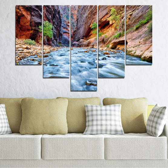 Canvas prints & wall decorative panels - 5 pieces №0220 » Brown, Black, Gray, Dark grey » Nature, Water, River, Rocks Form #6