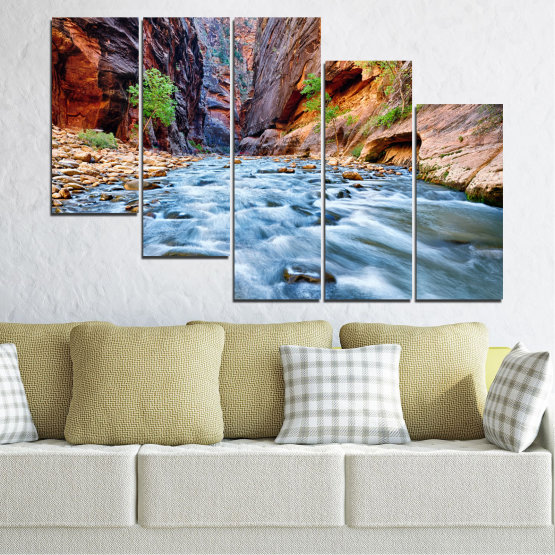 Canvas prints & wall decorative panels - 5 pieces №0220 » Brown, Black, Gray, Dark grey » Nature, Water, River, Rocks Form #7