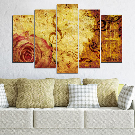 Canvas prints & wall decorative panels - 5 pieces №0221 » Yellow, Orange, Brown, Beige » Collage, Rose, Music Form #1