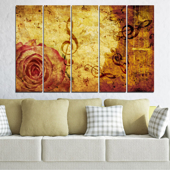 Canvas prints & wall decorative panels - 5 pieces №0221 » Yellow, Orange, Brown, Beige » Collage, Rose, Music Form #2