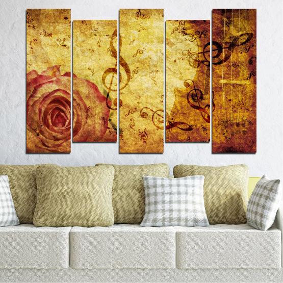 Canvas prints & wall decorative panels - 5 pieces №0221 » Yellow, Orange, Brown, Beige » Collage, Rose, Music Form #3