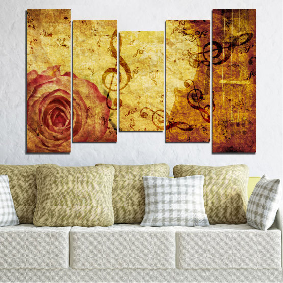 Canvas prints & wall decorative panels - 5 pieces №0221 » Yellow, Orange, Brown, Beige » Collage, Rose, Music Form #4