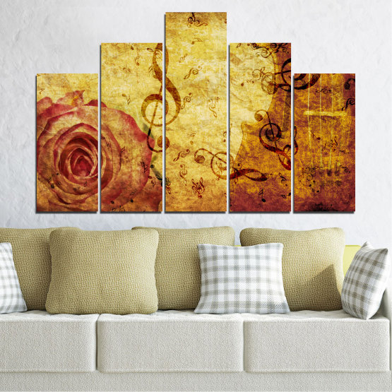 Canvas prints & wall decorative panels - 5 pieces №0221 » Yellow, Orange, Brown, Beige » Collage, Rose, Music Form #5