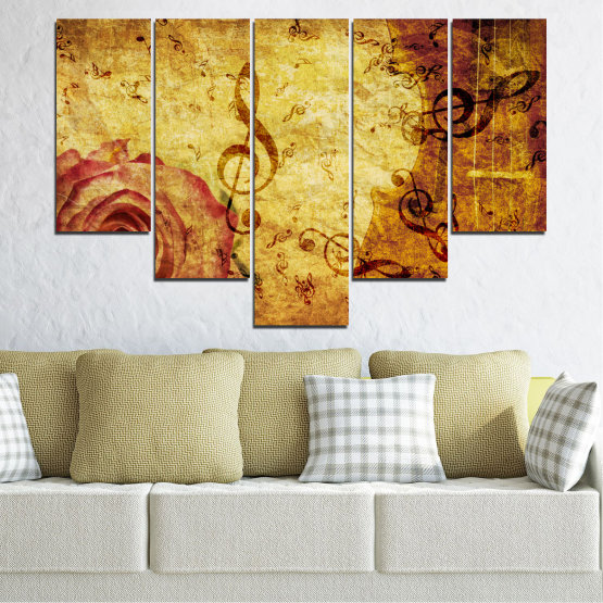 Canvas prints & wall decorative panels - 5 pieces №0221 » Yellow, Orange, Brown, Beige » Collage, Rose, Music Form #6