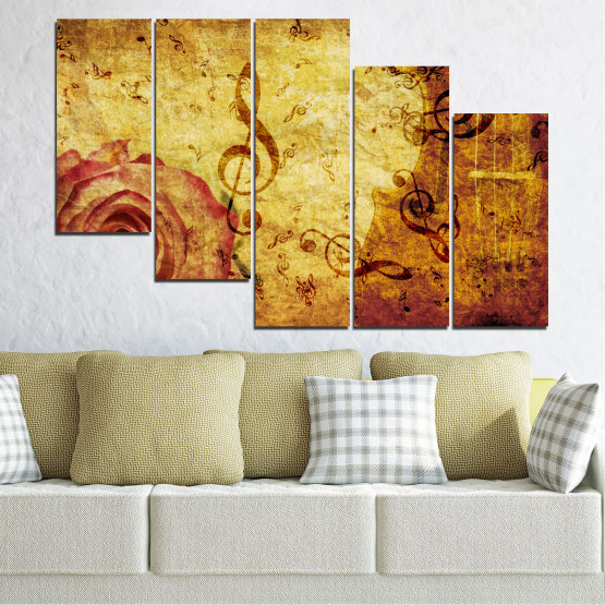 Canvas prints & wall decorative panels - 5 pieces №0221 » Yellow, Orange, Brown, Beige » Collage, Rose, Music Form #7