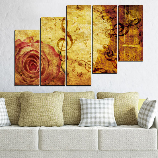 Canvas prints & wall decorative panels - 5 pieces №0221 » Yellow, Orange, Brown, Beige » Collage, Rose, Music Form #8