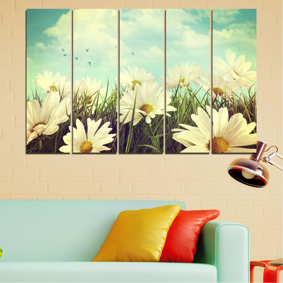 Canvas prints & wall decorative panels - 5 pieces №0222 » Brown, Gray, Beige, Dark grey » Landscape, Flowers, Field Form #2