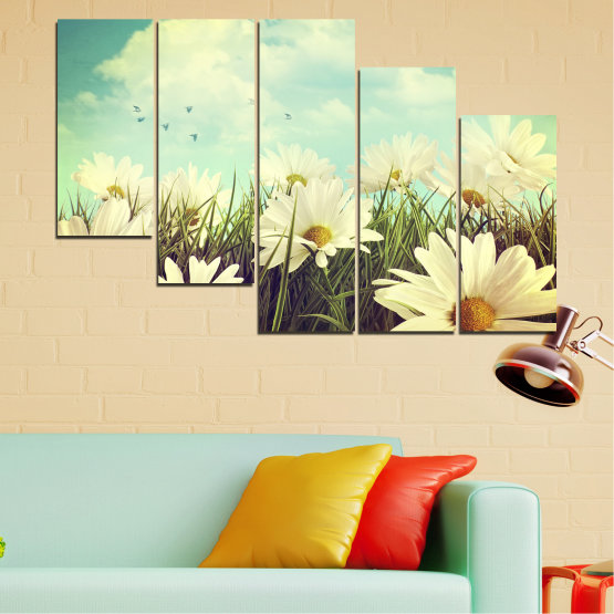 Canvas prints & wall decorative panels - 5 pieces №0222 » Brown, Gray, Beige, Dark grey » Landscape, Flowers, Field Form #7