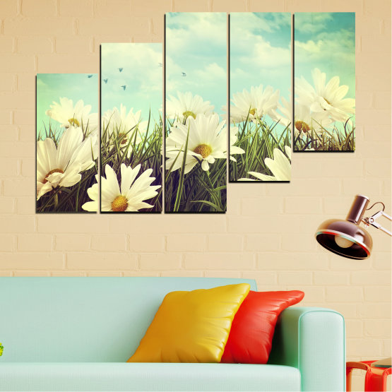 Canvas prints & wall decorative panels - 5 pieces №0222 » Brown, Gray, Beige, Dark grey » Landscape, Flowers, Field Form #8
