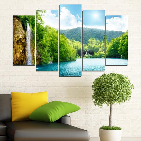 Декоративни панели и картини от канава - от 5 части №0224 » Тюркоаз, Зелен, Сив, Бял » Водопад, Слънце, Планина, Небе Form #1