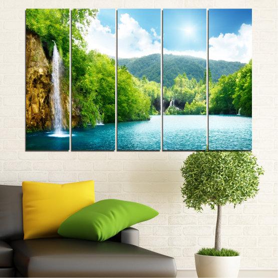 Декоративни панели и картини от канава - от 5 части №0224 » Тюркоаз, Зелен, Сив, Бял » Водопад, Слънце, Планина, Небе Form #2