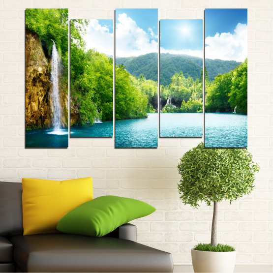 Canvas prints & wall decorative panels - 5 pieces №0224 » Turquoise, Green, Gray, White » Waterfall, Sun, Mountain, Sky Form #3