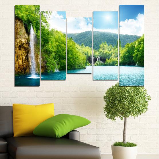 Декоративни панели и картини от канава - от 5 части №0224 » Тюркоаз, Зелен, Сив, Бял » Водопад, Слънце, Планина, Небе Form #4