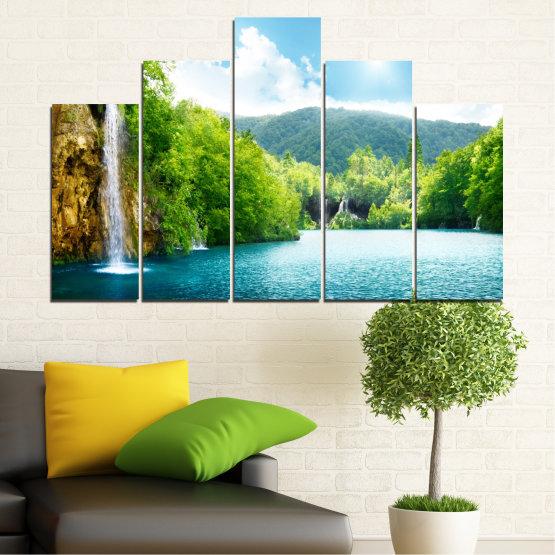 Декоративни панели и картини от канава - от 5 части №0224 » Тюркоаз, Зелен, Сив, Бял » Водопад, Слънце, Планина, Небе Form #5