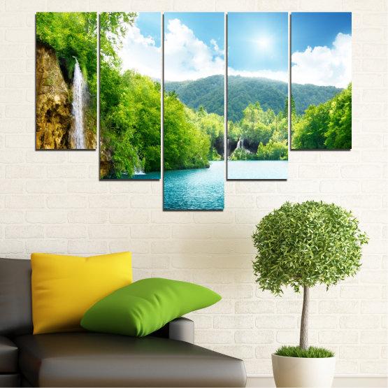 Декоративни панели и картини от канава - от 5 части №0224 » Тюркоаз, Зелен, Сив, Бял » Водопад, Слънце, Планина, Небе Form #6