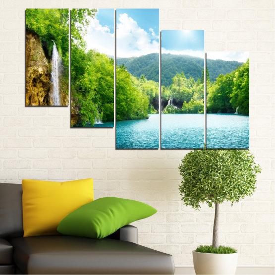 Декоративни панели и картини от канава - от 5 части №0224 » Тюркоаз, Зелен, Сив, Бял » Водопад, Слънце, Планина, Небе Form #7