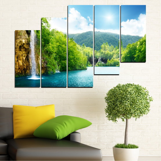 Canvas prints & wall decorative panels - 5 pieces №0224 » Turquoise, Green, Gray, White » Waterfall, Sun, Mountain, Sky Form #8