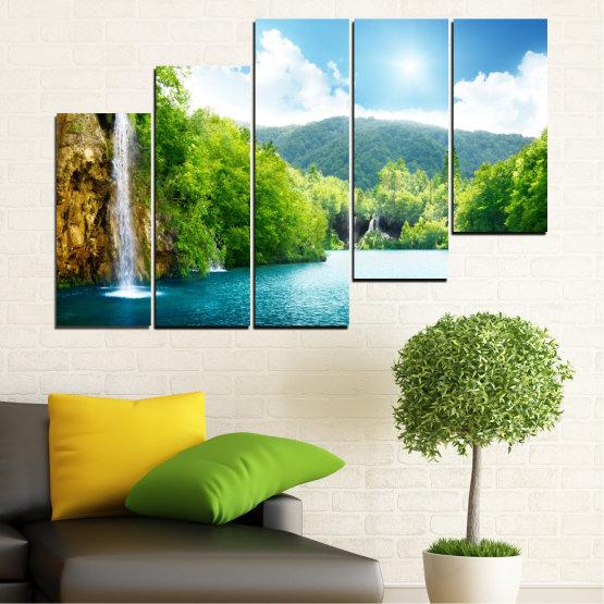 Декоративни панели и картини от канава - от 5 части №0224 » Тюркоаз, Зелен, Сив, Бял » Водопад, Слънце, Планина, Небе Form #8