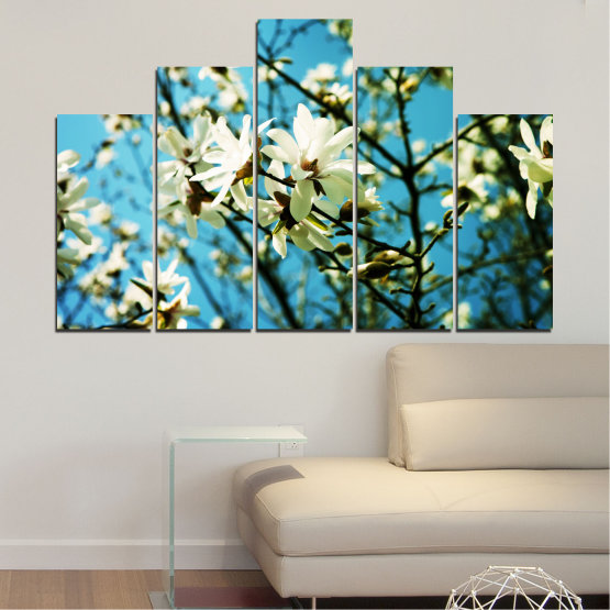 Canvas prints & wall decorative panels - 5 pieces №0225 » Turquoise, Black, Gray, Beige, Dark grey » Flowers, Nature, Sun Form #5