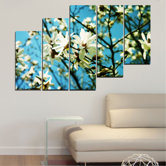 Canvas prints & wall decorative panels - 5 pieces №0225 » Turquoise, Black, Gray, Beige, Dark grey » Flowers, Nature, Sun Form #8