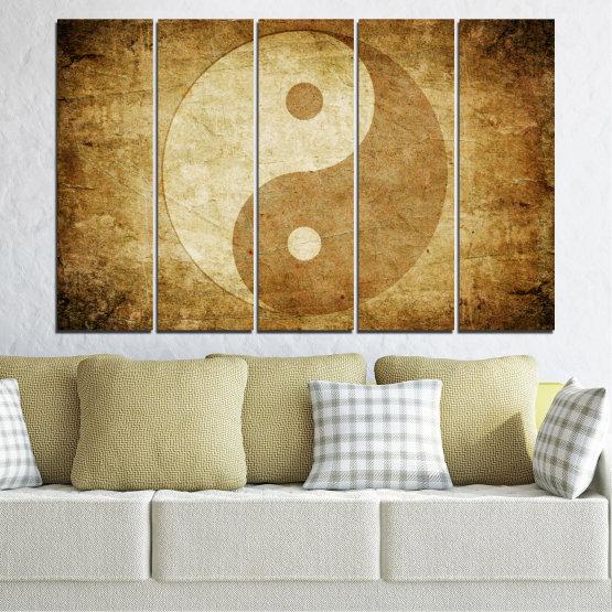 Декоративни панели и картини от канава - от 5 части №0226 » Оранжев, Кафяв, Бежов » Фън шуй, Символ, Буда Form #2