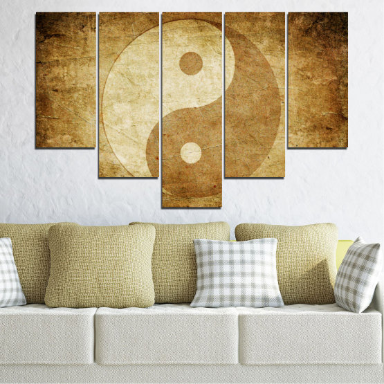 Декоративни панели и картини от канава - от 5 части №0226 » Оранжев, Кафяв, Бежов » Фън шуй, Символ, Буда Form #6