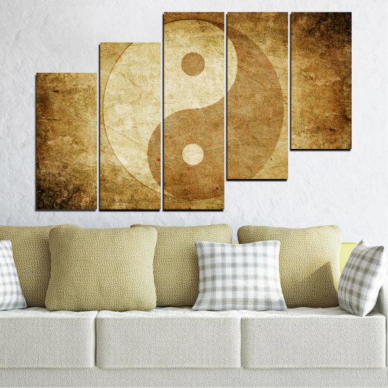 Декоративни панели и картини от канава - от 5 части №0226 » Оранжев, Кафяв, Бежов » Фън шуй, Символ, Буда Form #8