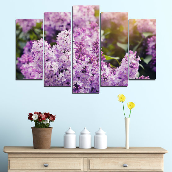 Canvas prints & wall decorative panels - 5 pieces №0227 » Purple, Gray, Dark grey » Flowers, Sun, Lilac Form #1