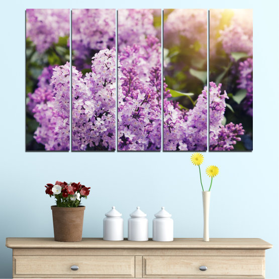 Canvas prints & wall decorative panels - 5 pieces №0227 » Purple, Gray, Dark grey » Flowers, Sun, Lilac Form #2
