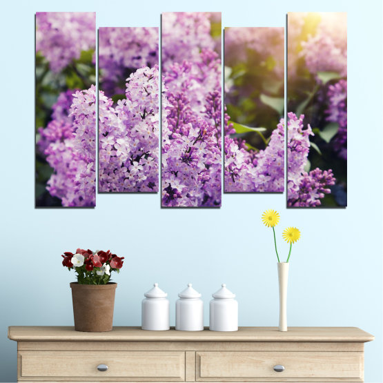 Canvas prints & wall decorative panels - 5 pieces №0227 » Purple, Gray, Dark grey » Flowers, Sun, Lilac Form #3